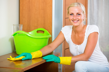 cleanup: Positive housewife doing regular clean-up in flat