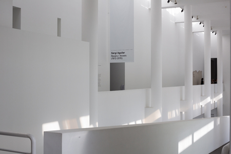 displays: BARCELONA, SPAIN - OCTOBER 28, 2015: View at interiors and displays of exhibitions in The Museum of Modern Art (MAGBA).