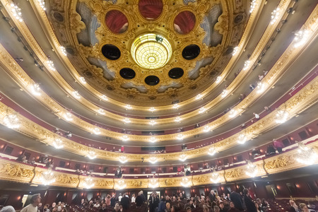 beethoven: BARCELONA, SPAIN - MARCH 27, 2015: Audience at Beethoven Concert in  Gran Teatre del Liceu, famous opera house in Barcelona, Catalonia. Editorial