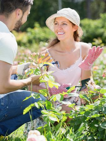 resident: Smiling family in gloves planting garden plants in summer resident