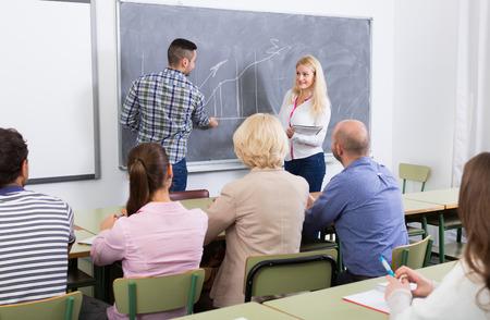 Attente volwassen studenten met blonde vrouwelijke docent aan training voor medewerkers