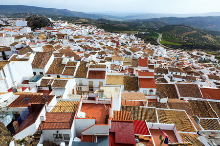 districts: Aerial view of residential districts in spanish town.  Olvera,   Spain Stock Photo