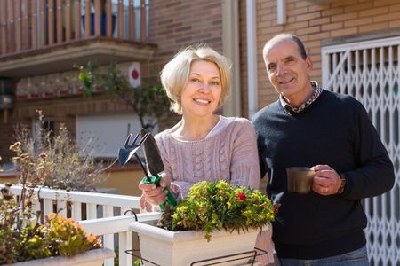 horticultural: Positive smiling elderly woman with horticultural sundry and aged man drinking tea in patio Stock Photo