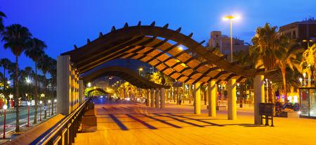 embankment: Barcelona embankment in evening time