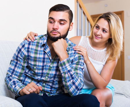 reconciliation: A reconciliation between the young spouses after bad fight