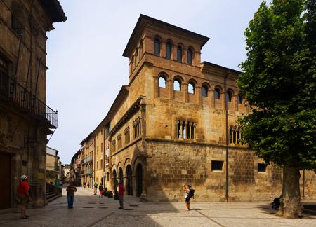 navarra: ESTELLA-LIZARRA, SPAIN - JULY 5, 2015: Royal palace of the Kings and Queens of Navarre (Palacio de los Reyes de Navarra)