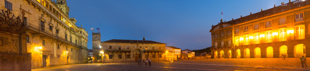 rajoy: Obradoiro Square  in evening time. Santiago de Compostela,  Galicia,
