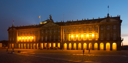 rajoy: The Rajoy Palace (Palacio de Rajoy)  in evening  time. Santiago de Compostela,  Galicia
