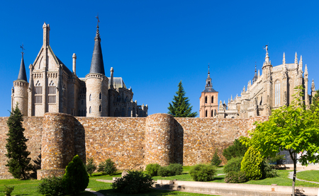 episcopal: Ancient town walls,  Cathedral and Episcopal Palace of Astorga in summer day.  Castile and Leon, Spain Editorial