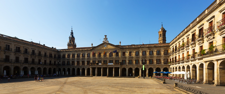 gasteiz: View of  Berria Square (New Square) and city hall. Vitoria-Gasteiz,  Spain Stock Photo