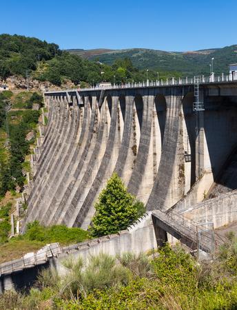 galicia: Day view of dam at Encoro de Prada.  Galicia
