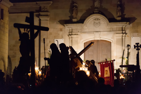 holy week: Evening procession during Holy Week in Badalona. Spain