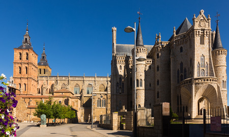 episcopal: ASTORGA, SPAIN - JUNE 28, 2015: Cathedral and Episcopal Palace of Astorga in summer day.  Castile and Leon, Spain