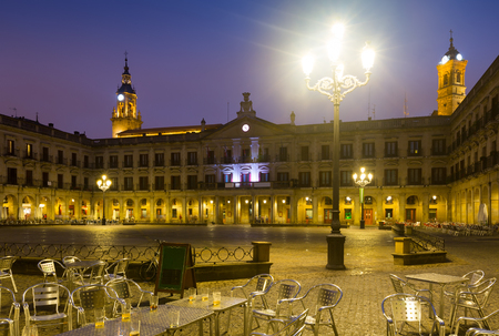 gasteiz: Night view of  Berria Square (New Square) and city hall. Vitoria-Gasteiz,  Spain Stock Photo