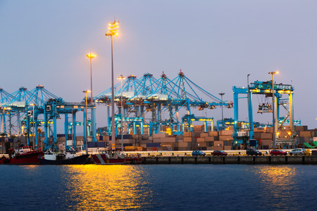 shipped: Early morning view of  Port of Algeciras - one of  largest ports in Europe. Spain Stock Photo