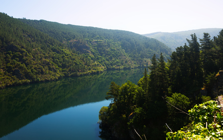 sil: river  with steep foresty banks in sunny summer day. Galicia,  Spain