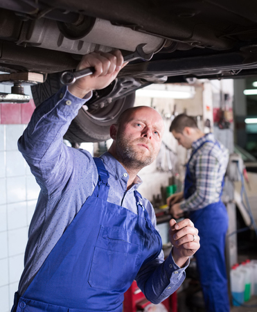 mounting holes: Positive european  mechanics fixing car tire leak
