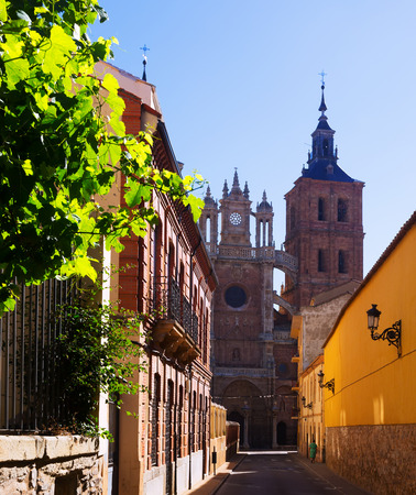 castile: Cathedral of Astorga in sunny time.  Castile and Leon, Spain