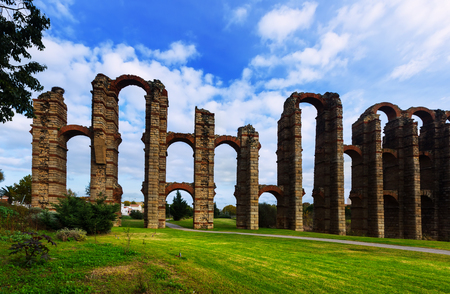 acueducto: ancient  roman aqueduct  in autumn day. Merida, Spain
