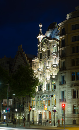 paseig: BARCELONA, SPAIN - JUNE 23, 2015:  Casa Batllo  in night. Barcelona. Was built in 1904 by Catalan architect Antoni Gaudi, Catalan modernism architecture style Editorial