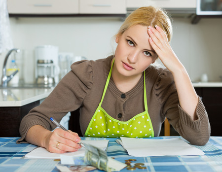 ruminate: young woman thinking about the financial problems  at home Stock Photo