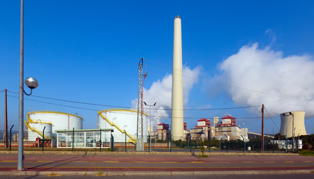 cooling towers: Industrial plant with cooling towers in sunny day