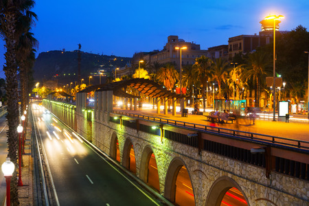 columb: Evening view of embankment with Columbus monument. Barcelona, Catalonia, Spain