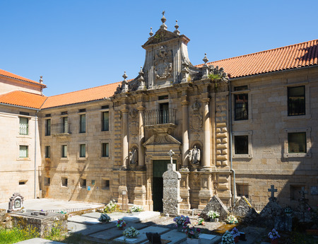 orense: NOGUERA DE RAMUIN, SPAIN - JUNE 6, 2015: Gate of monastery of San Esteban. Galicia,  Spain Editorial