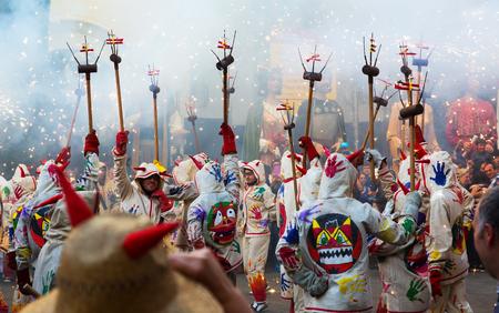 fiestas: BADALONA, SPAIN - MAY 10, 2014:  Fiestas de Mayo - show with fireworks on  town square at Badalona during  night of Saint Anastasi Editorial