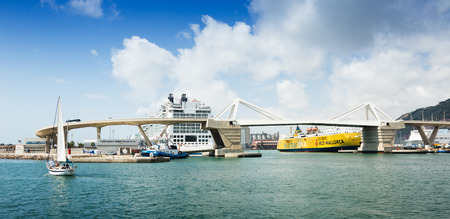 shipped: BARCELONA, SPAIN - JULY 6, 2014: Cruiser terminals at the Port of Barcelona.  Spain