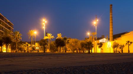 fabrica: Night view of seaside at Badalona. Catalonia, Spain