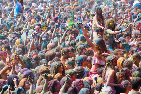 durty: BARCELONA, SPAIN - APRIL 12, 2015: Durty people during   Festival of colours Holi Barcelona. Holi is traditional holiday of India Editorial