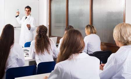 medical school: adult european health-care workers during educational program in medical school Stock Photo