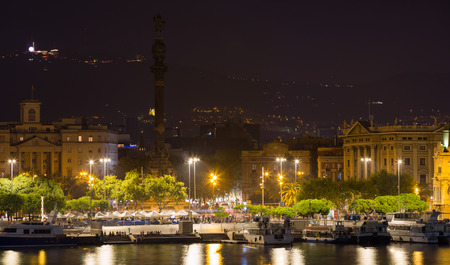 columb: view to Barcelona  Port  with  Columbus statue  in  evening time.  Spain