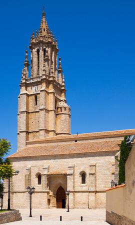 castile: Collegiate Church of San Miguel in Ampudia. Castile and Leon, Spain Stock Photo