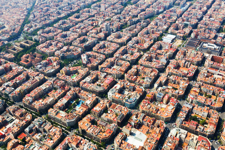 residential district: Aerial view of typical buildings at Eixample residential district. Barcelona, Spain