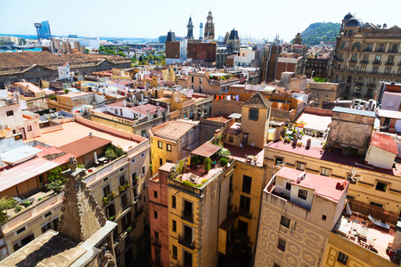 gotico: Day view of Barcelona - Barrio Gotico from Santa Maria del mar. Catalonia Foto de archivo