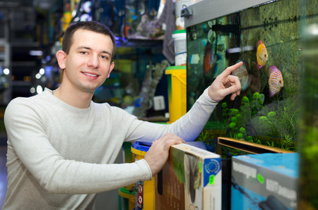aquarian fish: Portrait of positive man selecting tropical fish in petshop Stock Photo