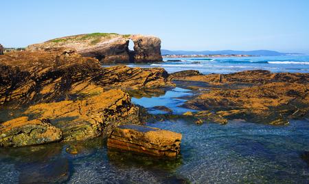 turistic: Stone coast at  As Catedrais beach - it is the turistic name of Praia de Augas Santas (Beach of the Holy Waters). Galicia,  Cantabric coast