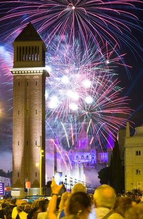 merce: Firework  in Barcelona. Light and music show at closing ceremonies of La Merce Festival