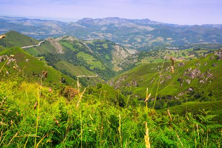 picos: General view of  mountains landscape. Picos de Europa, Asturia, Spain