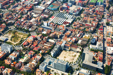 residential district: Aerial view of old part of Sant Marti residential district. Barcelona, Catalonia Stock Photo