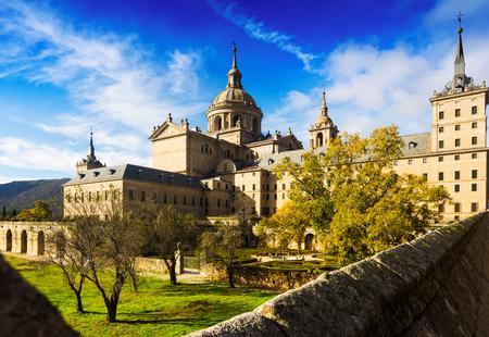 Royal Palace: Royal Palace in sunny autumn day. El Escorial, Spain