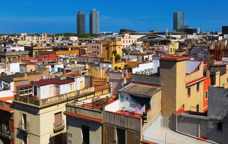 gotico: ver a los rascacielos del distrito hist�rico de Born. Barcelona, ??Espa�a Foto de archivo