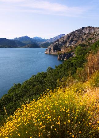 LUNA: Summer landscape with lake.   Barrios de Luna reservoir  in Leon.  Spain