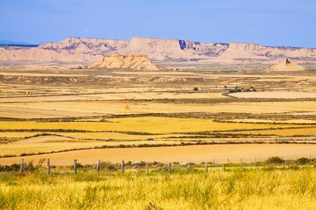 navarra: semi-desert landscape of Navarra in summer day. Spain