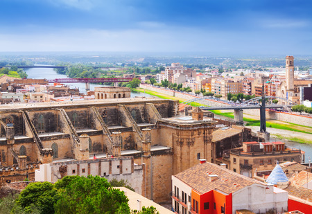 ebre: general view of Tortosa with Cathedral from Suda castle. Catalonia, Spain