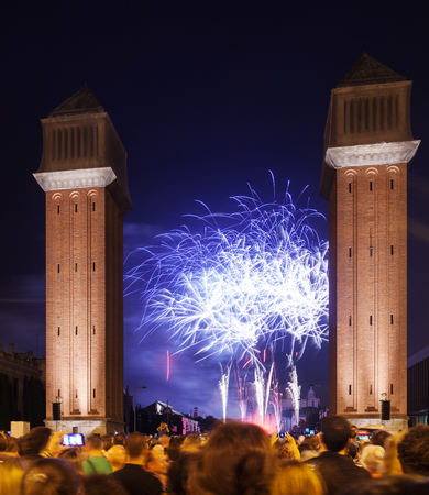 plaza: firework at Plaza de Espana. Barcelona Stock Photo