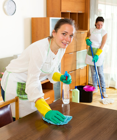 houseman: Portrait women workers cleaning company ready to start work