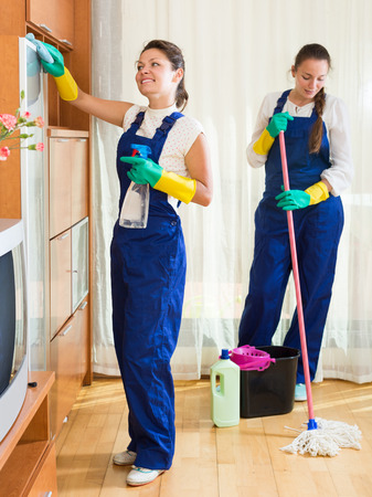 houseman: Professional russian cleaners cleaning in room
